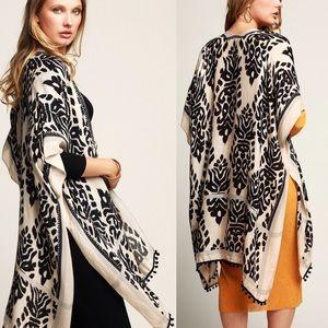 kimono Coverup Armholes Pom Pom Boho Chic